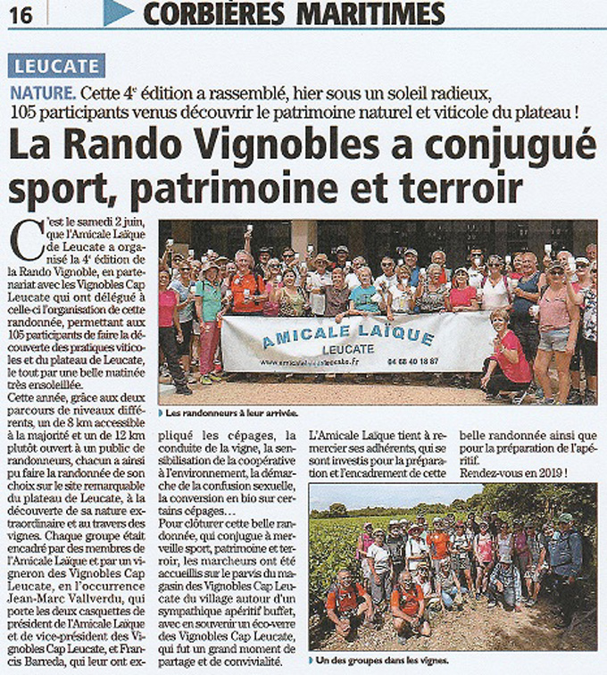 Article presse rando vignoble 2018 0001